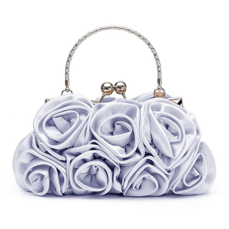TEXU Floral Ladies Clutch Bag Women Evening Party Bag Prom Bridal Diamante Baguette Silver