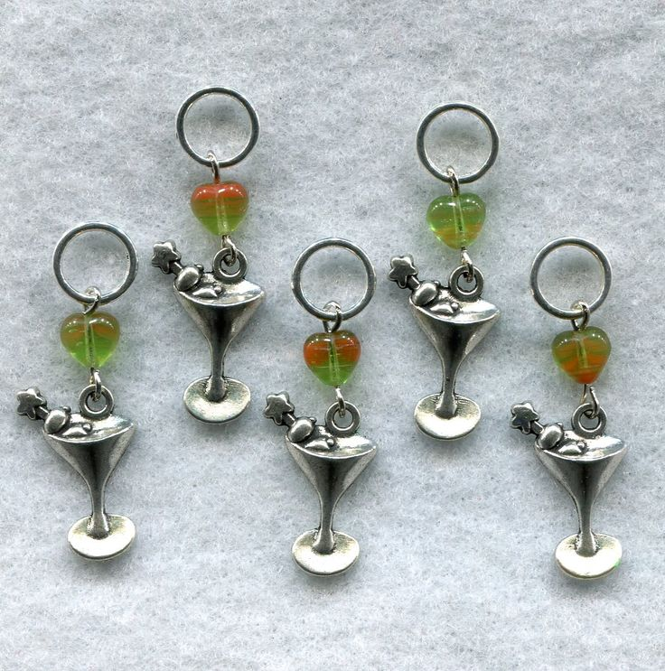 Martini Knitting Stitch Markers Cocktail Classic Set of 5 /SM114 from GloriaPatreSpinNKnit on Etsy Studio