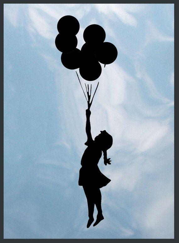 Banksy flying balloon girl graffiti style by StencilStyleArt, £7.99