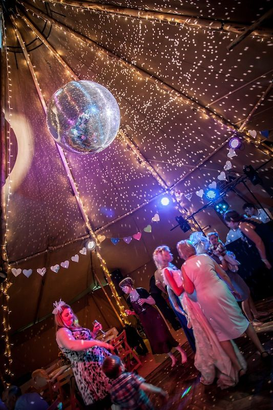 Giant Disco Ball | Tipi wedding