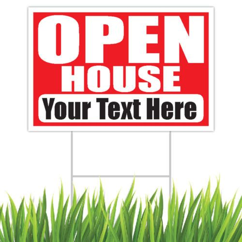Open house yard sign double sided corrugated plastic metal step stake 18x12