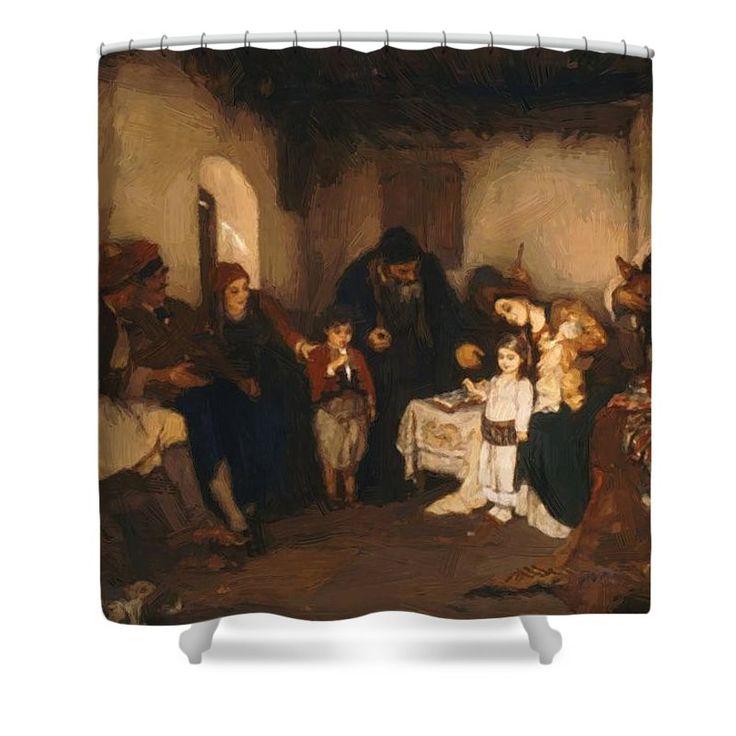 Children Shower Curtain featuring the painting Children Engagement 1877 by Gyzis Nikolaos