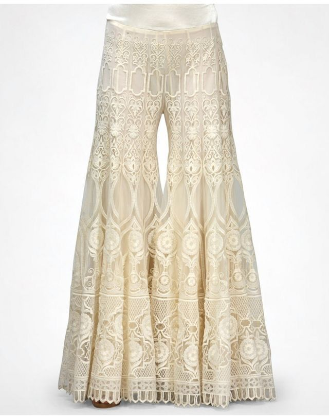 These, worn with a crop top, would make a great wedding pants outfit for a boho bride