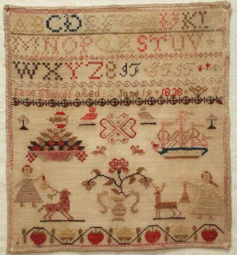 EARLY 19TH CENTURY WOOL WORK SAMPLER BY JANE FLINTOFF 1828