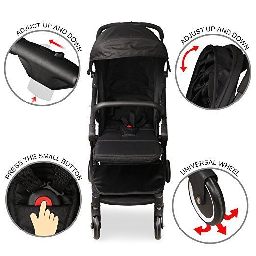 Amazon.com : INTRODUCTORY SALE Best Lightweight Portable Stroller On Market - Reclines 175 Degree for New Born Babies (Black) : Baby