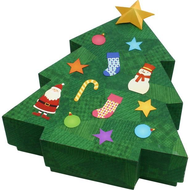 Christmas: Tree Box,Home and Living,Paper Craft,Christmas,bell,socks,ornament,checkered,box,snowman,socks,decoration,decoration,Santa Claus,fir tree,ribbon,reindeer,tree,Santa Claus,tree