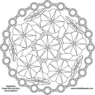 September birthstone and birth flower mandala- png version