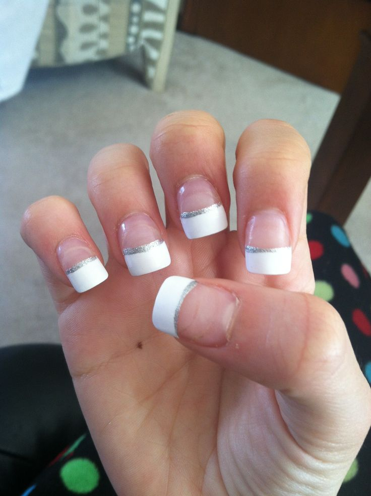 french tip acrylic nails with silver accent   French ...