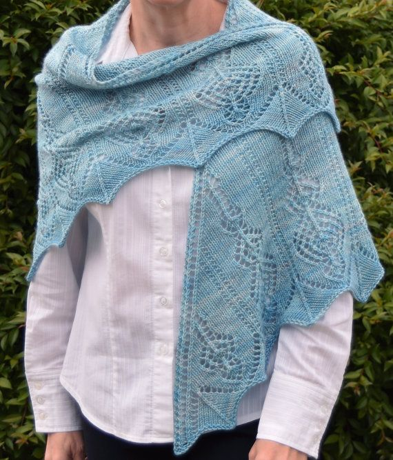 Free Knitting Patterns Teddy Bears : Lace Triangle Knit Shawl Pattern - AETHERIA SHAWL Knitting Pattern PDF - Inst...