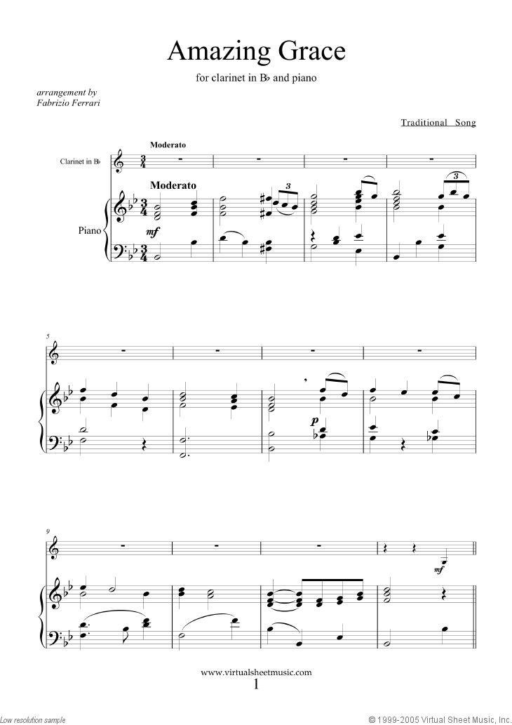 Amazing Grace sheet music for clarinet and piano