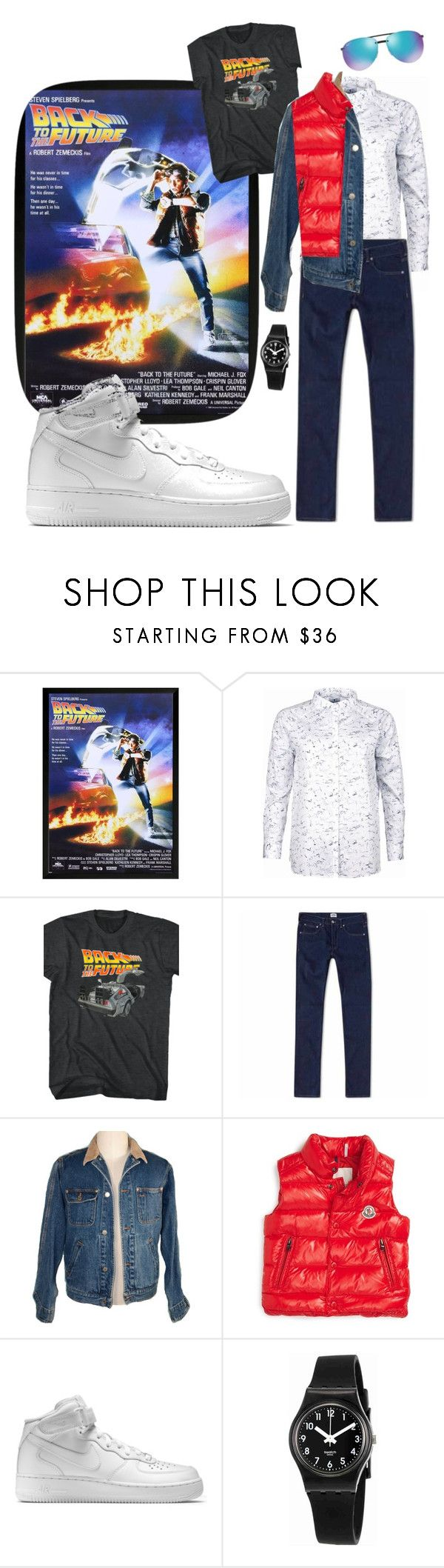 """80s Look 11- Marty McFly"" by jcarkelt on Polyvore featuring Barbour, Edwin, Moncler, NIKE, Swatch, Ray-Ban, 80s and 1980s"