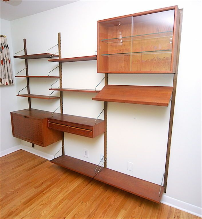 Teak Danish Modern Wall Shelf Unit Bookshelf by Poul Cadovius