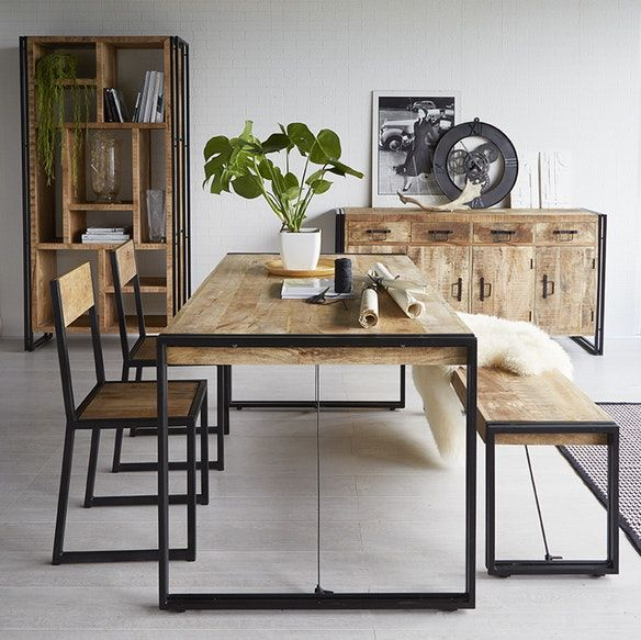 Mango Wood Metal Wood Dining Table Large With Images Metal