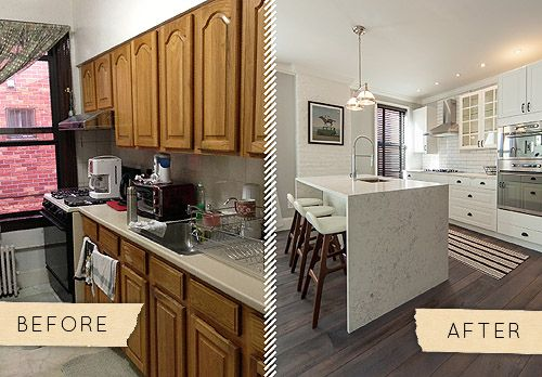 Before & After: A Queens Townhouse Kitchen Gets a Chic Update - Design*Sponge