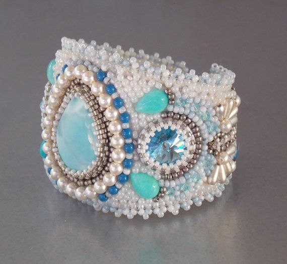 Check out Free Shipping , Bead Embroidery, Bracelet, Statement cuff, Seed bead bracelet, Silver, Blue, White, Larimar gemstone, on vicus