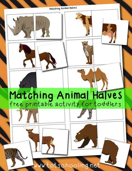Matching Animal Halves Free Printable