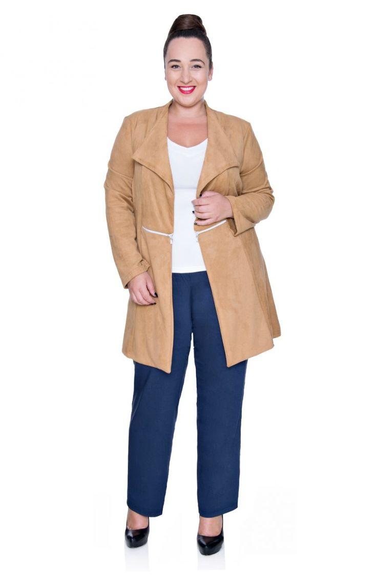Granatowe elastyczne spodnie z prostą nogawką - Modne Duże Rozmiary