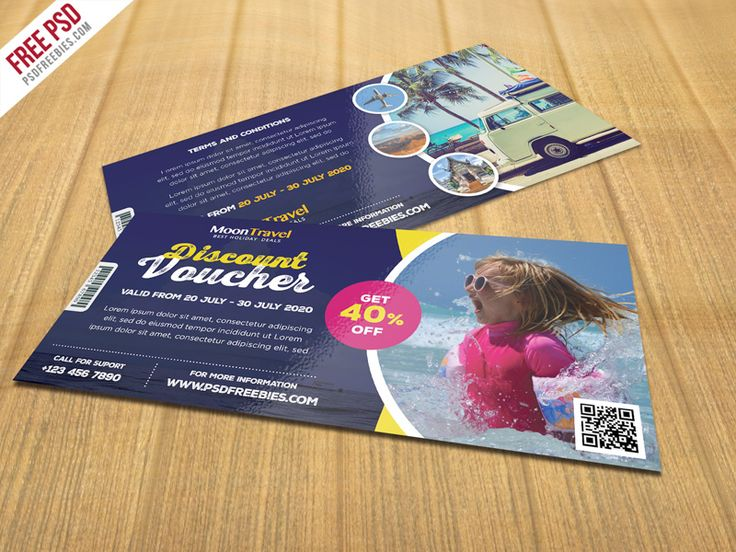 Download Free Travel and Trip Discount Voucher PSD Template. Do you have a travel agency or do you organise travel tours? Check out this Travel and Trip Discount Voucher that may interest your for your marketing. These Discount Voucher template will help you to promote your brand, agency, eCommerce website or company as well. You can offer by using different terms like discount card, offer card, coupon card, gift token, gift voucher, gift certificate or cash card. This Travel and Trip…
