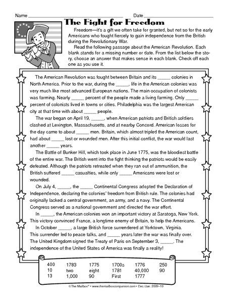 American revolutionary war worksheets middle school