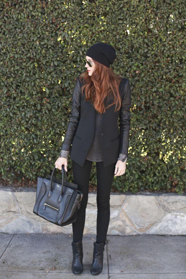Black On Grey -beenie, thermal, long blazer.
