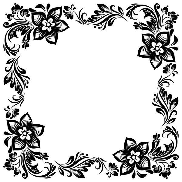 Black Flower Decorative Frame Vectors Material 02 Black Flowers