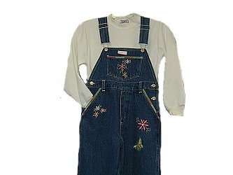 Girls Sizes 4/ 5/ 6/ 6X Denim Embroidered Bib Pocket Overall 2 Piece Set
