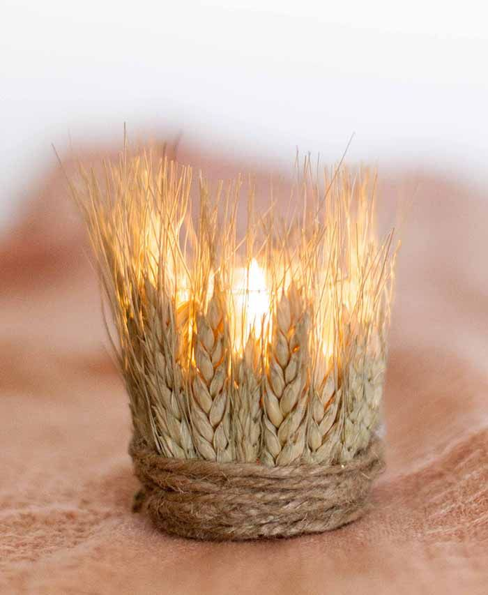 DIY Wheat Tea Lights with your Candle Impressions LED Candles. Great for fall & country weddings.