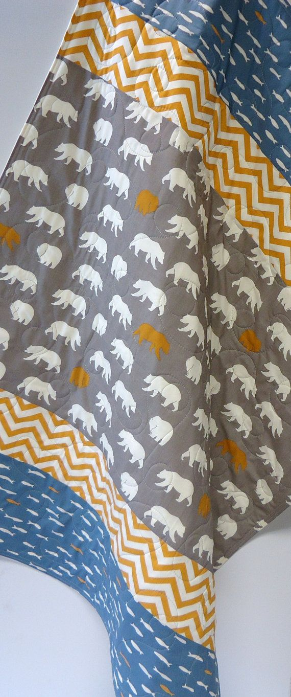 Modern Baby Quilt-Rustic Baby Boy Bedding-Organic Birch Fabric-Bear Hike-Fish-Feather River-Gray-Orange-Blue-Chevron Baby Blanket