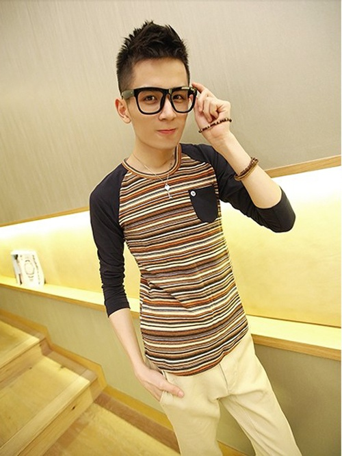 New long sleeve stripe colour T-shirt