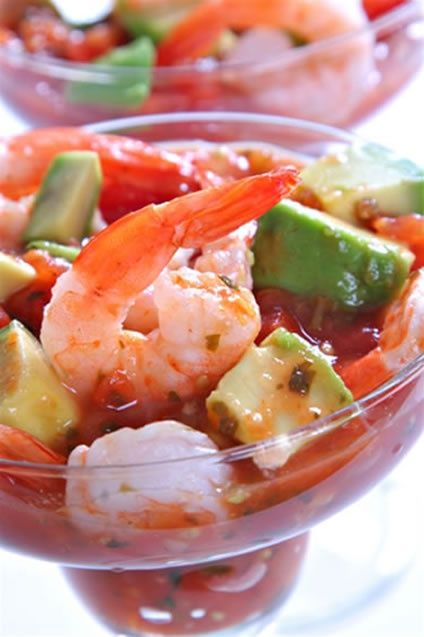 Shrimp cocktail.   I'd use my homemade salsa recipe, add avacados & cucumber, thin with Clamato juice and add cilantro & a tiny bit of jalapeno...