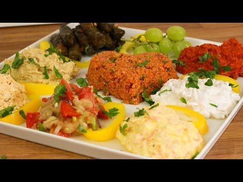 Türkische Vorspeisen Vorspeiseplatte - Hummus / Acuka / Auberginen Salat / Cerkez Tavugu - YouTube