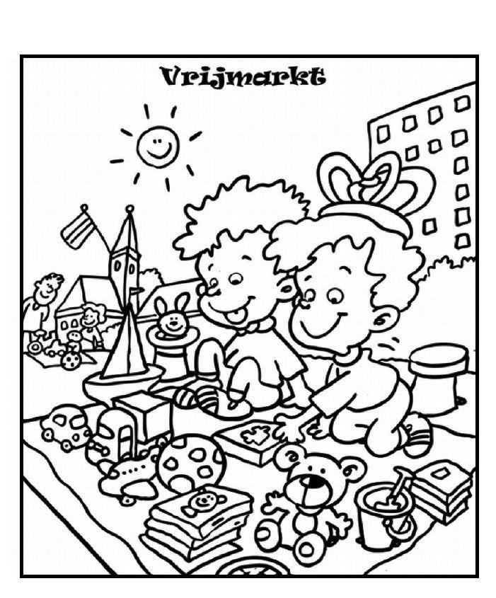 Kleurplaten Koningsdag Peuters.Kleurplaat Koningsdag Vrijmarkt 147 Best Images About Koningsdag On