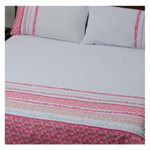 Rosemary is a beautifully embellished design, with vintage floral patterns, interspersed with white and printed ruffles. Each floral pattern is finished off with different shades of pink woven braid, turning this crisp white polycotton duvet coverinto a vintage showpiece for any room. Romantic and pretty, this design is a must-have.