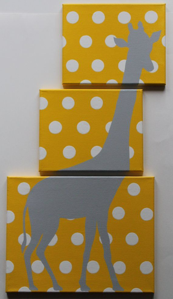 Giraffe Nursery Safari Nursery Decor Jungle Nursery Decor Animal Canvas Acrylic Painting Yellow Gray Nursery Polka Dots