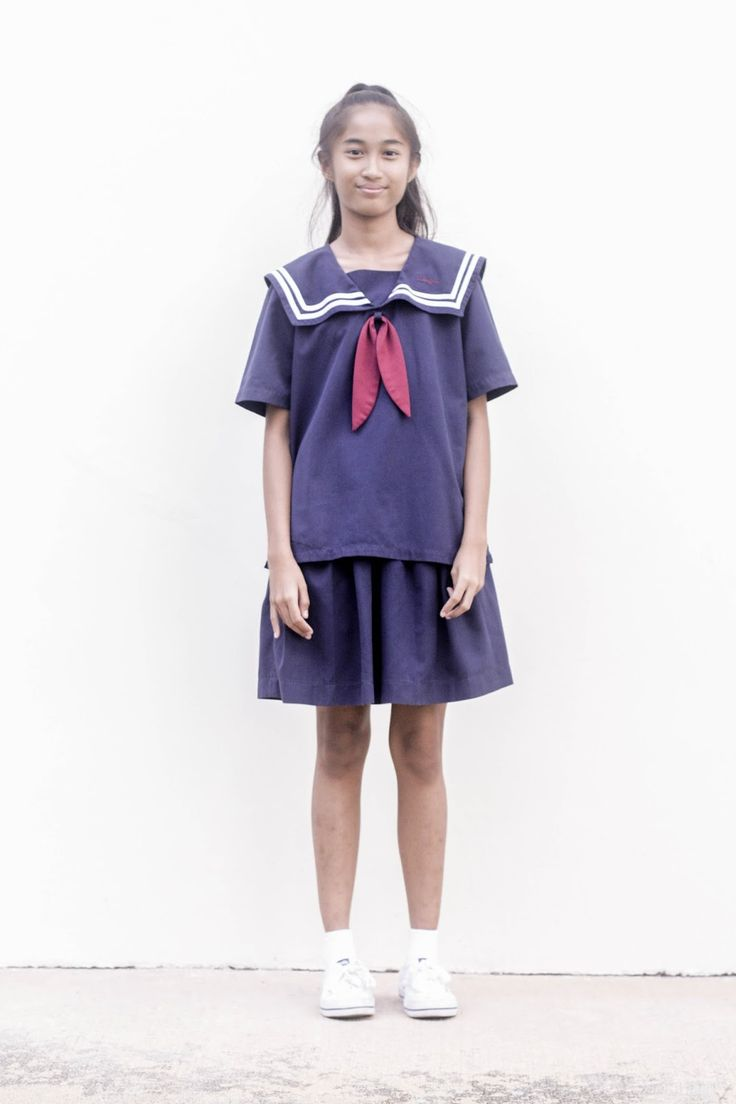 Spreadeagle in school uniform