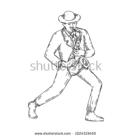 Mono line illustration of a jazz player or musician playing a sax or saxophone done in black and white on isolated background.  #jazzplayer #monoline #illustration