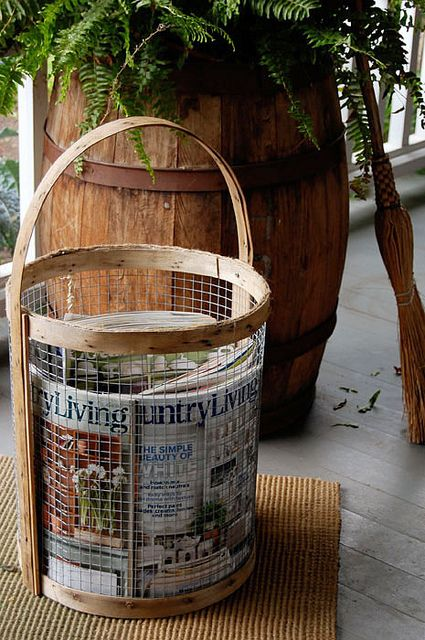 DIY wire and wood basket.  Love this idea.Gift Baskets, Crafts Ideas, Decor Ideas, Country Baskets, Diy Baskets, Country Living Magazines, Chicken Wire, Wire Baskets, Diy Decor
