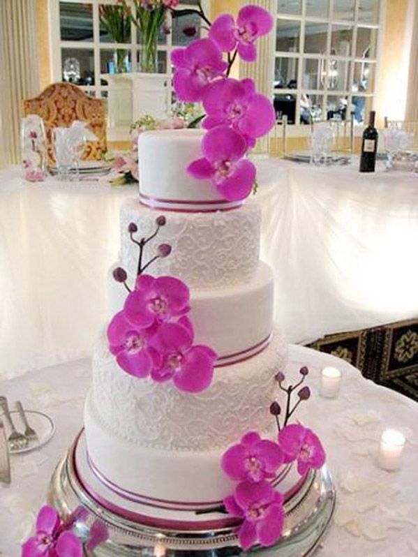 Radiant Orchid Wedding Cake  www.tablescapesbydesign.com https://www.facebook.com/pages/Tablescapes-By-Design/129811416695