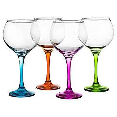 Gin Glasses | Large 790ml Copa de Balon | Coloured Stems | Perfect for Gin & Tonic | Set of Four