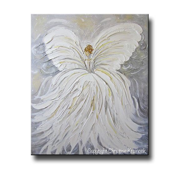 ORIGINAL Art Abstract Angel Painting White por ChristineKrainock