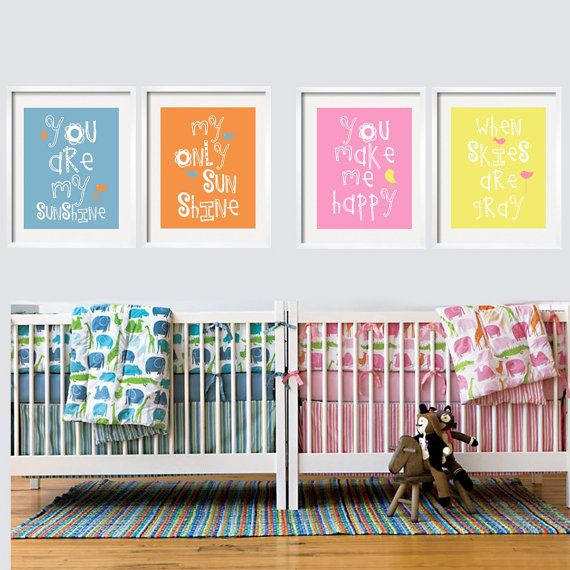 You Are My Sunshine Prints -For a Twin Nursery 4 pc Set 8x10 Customize your colors by YassisPlace