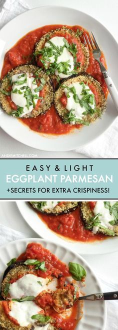 Healthy Baked Eggplant Parmesan Recipe! The secrets on how to make easy healthy baked eggplant parm with panko bread crumbs and fresh mozzarella! 398 calories per serving via @andiemitchell