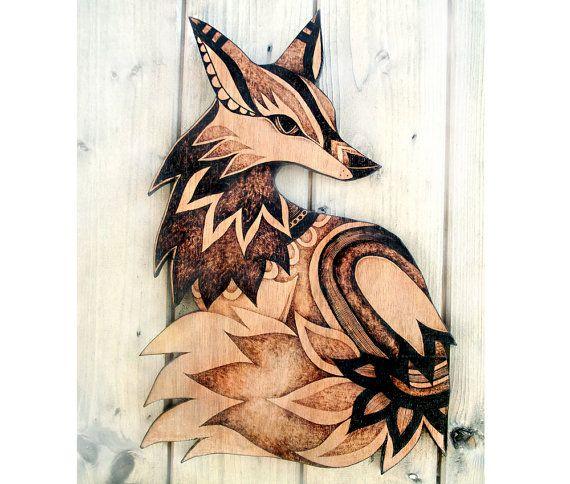 Fox muur opknoping, Pyrogravure houten muur opknoping houtverbranding, kunst aan de muur, fox decor, dier, volkskunst, bosrijke decor, bos dieren, vossen