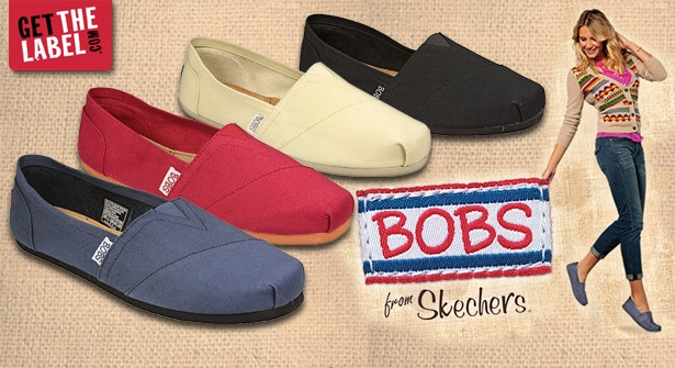 Breeze down sunny streets in Skechers BOBS Earth Day casual flat shoes. The soft canvas shoes feel like you're walking on air – slip on a pair in either black, navy, red or natural