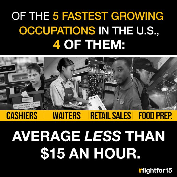Things to watch in 2016: 4:5 of the fastest growing jobs pay poverty wages. That's the coming crisis. #FightFor15