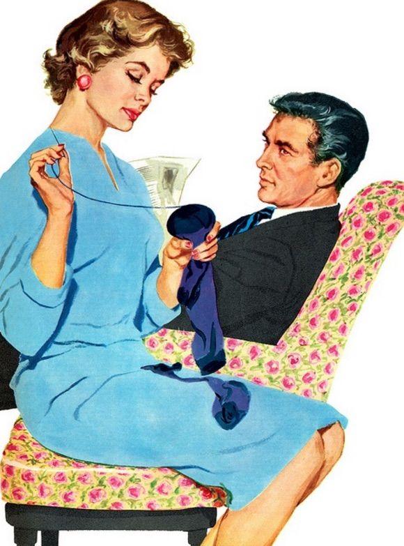 1950s Good Housewife Guide Asi me enseño a coser las medias mi abuelita, pero mi marido no me mira de esa manera cuando lo hago...