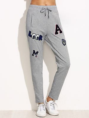 Women-Heather-Grey-Drawstring-Jersey-Pants-Jogger-Soft-New-With-Patch-Detail-M-L
