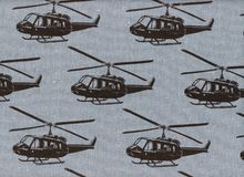 Echino Helicopters Cotton Linen Grey