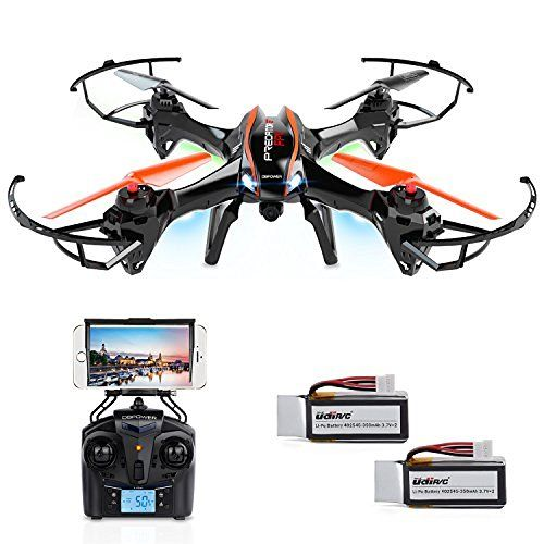 DBPOWER UDI U818A WiFi FPV Drone with HD Camera - Includes BONUS BATTERY and 4GB TF Card - 2.4GHz 4CH 6 Axis Gyro RTF UFO RC Quadcopter with Headless Mode Gravity Induction and Low Voltage Alarm