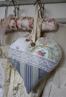 Handmade extra large heart pillow made using antique textiles and trims, original design from Betty & Violet